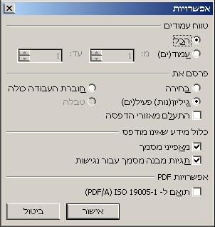 שמירת קובץ אקסל 2010 - 2007 כקובץ PDF - אפשרויות